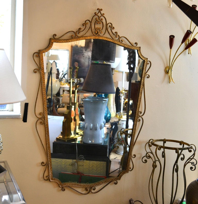 Art Deco Style Italian Gilt Wrought Iron Wall Mirror by Pier Luigi Colli For Sale 6