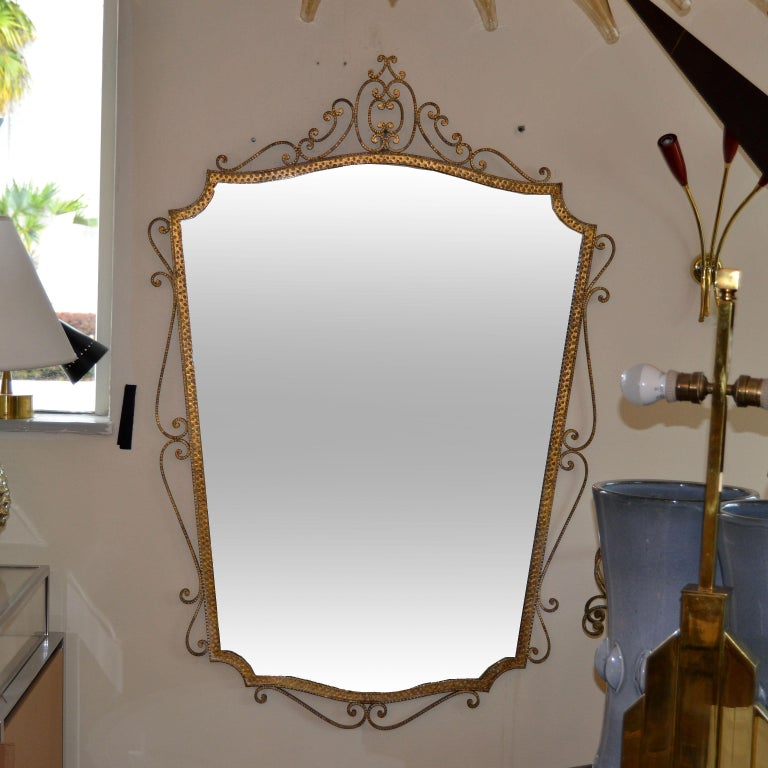 Art Deco Style Italian Gilt Wrought Iron Wall Mirror by Pier Luigi Colli In Good Condition For Sale In Miami, FL