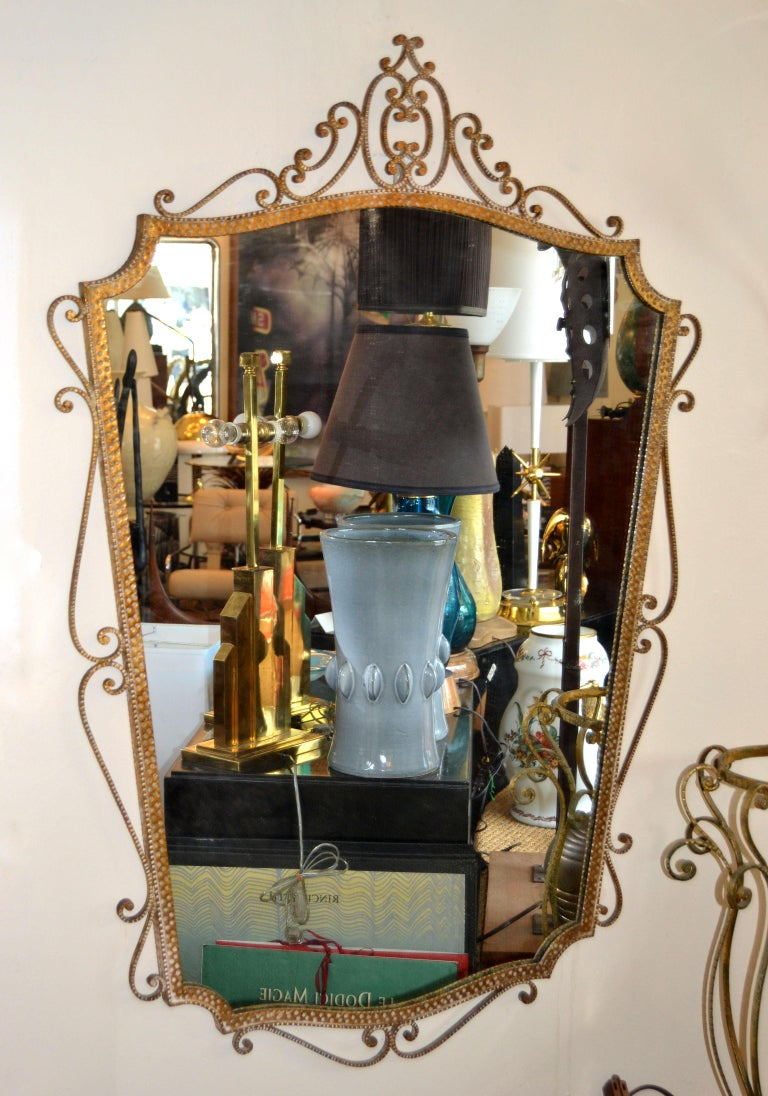 Mid-20th Century Art Deco Style Italian Gilt Wrought Iron Wall Mirror by Pier Luigi Colli For Sale