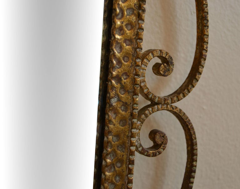 Art Deco Style Italian Gilt Wrought Iron Wall Mirror by Pier Luigi Colli For Sale 4