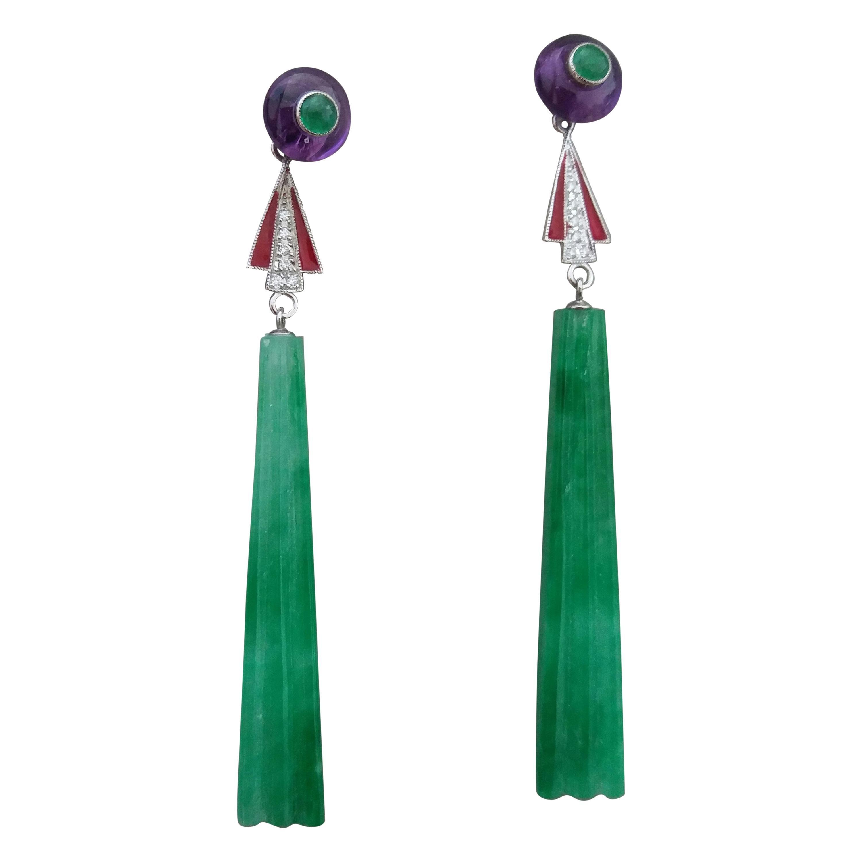 Art Deco Style Jade Amethyst Emeralds Red Enamel Gold Diamonds Dangle Earrings
