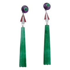 Art Deco Style Jade Amethyst Emeralds Red Enamel Gold Diamonds Dangle Earrings