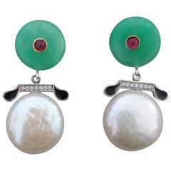 Art Deco Style Jade Baroque Pearls Rubies Gold Diamonds Black Enamel Earrings