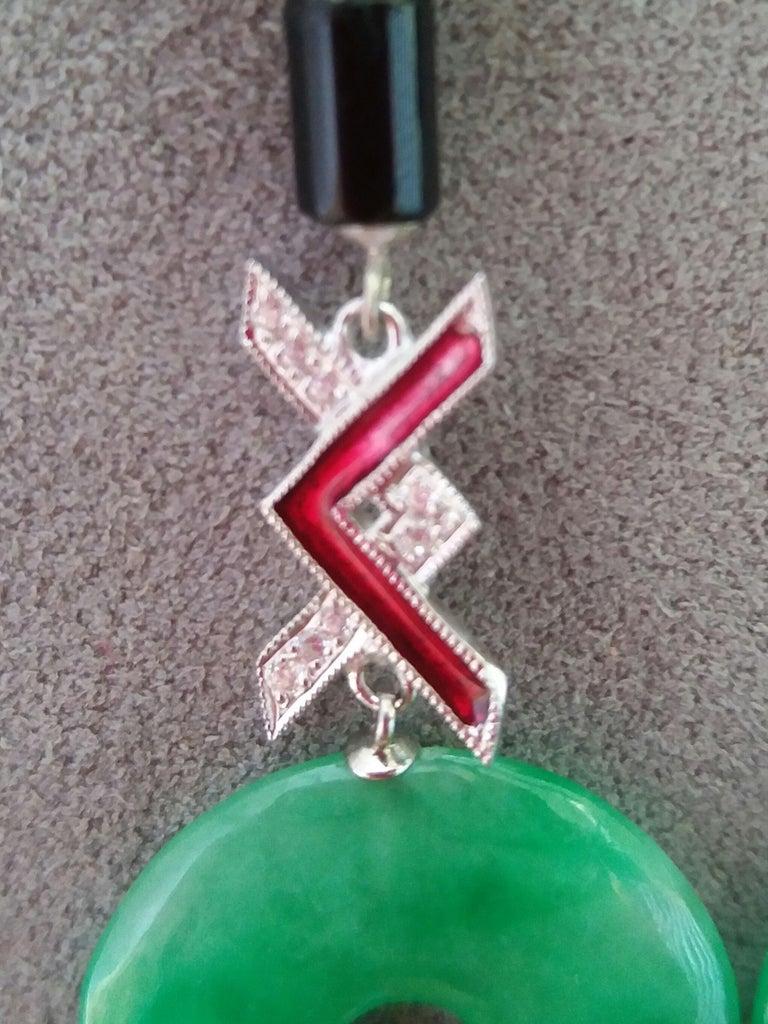 Women's Art Deco Style Jade Black Onix Red Enamel Gold Diamonds Dangle Earrings For Sale