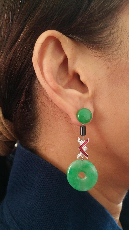 Art Deco Style Jade Black Onix Red Enamel Gold Diamonds Dangle Earrings For Sale 1