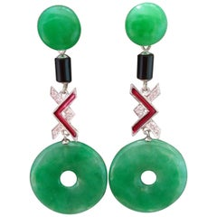 Art Deco Style Jade Black Onix Red Enamel Gold Diamonds Dangle Earrings