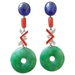Art Deco Style Jade Blue Sapphire Coral Enamel Gold Diamonds Dangle Earrings