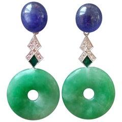 Art Deco Style Jade Blue Sapphire Gold Diamonds Green Enamel Dangle Earrings