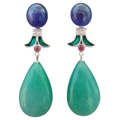 Art Deco Style Jade Blue Sapphire Ruby Green Enamel Gold Diamond Dangle Earrings