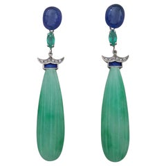 Art Deco Style Jade Blue Sapphires Emeralds Gold Enamel Diamonds Drop Earrings