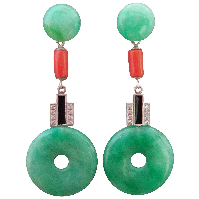 Art Deco Style Jade Coral Gold Diamonds Black Enamel Dangle Earrings