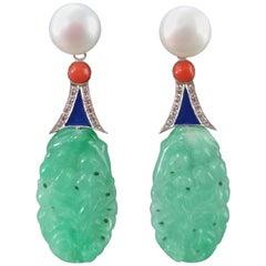 Art Deco Style Jade Coral Pearl Gold Diamonds Blue Enamel Dangle Earrings