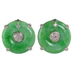 Art Deco Style Jade Diamond Screw Back Gold Earrings