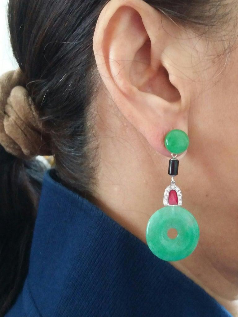 Art Deco Style Jade Donuts Gold Diamonds Black Onix Red Enamel Dangle Earrings For Sale 1