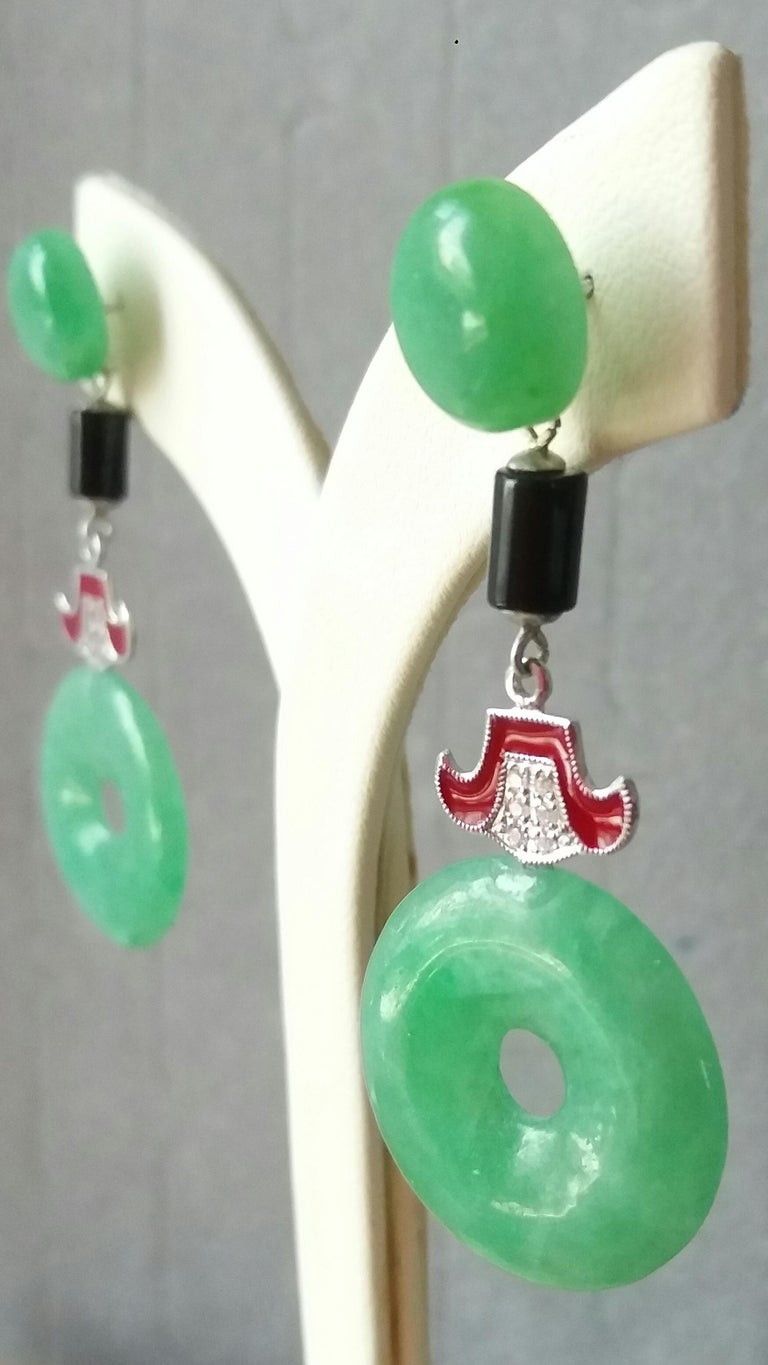 Mixed Cut Art Deco Style Jade Donuts Gold Diamonds Red Enamel Dangle Earrings For Sale