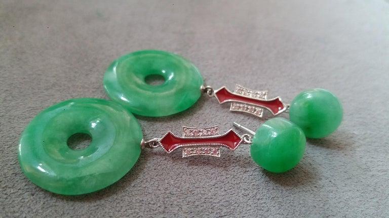 Women's Art Deco Style Jade Donuts Gold Diamonds Red Enamel Dangle Earrings For Sale