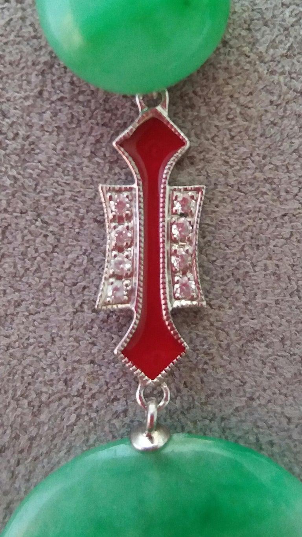 Art Deco Style Jade Donuts Gold Diamonds Red Enamel Dangle Earrings For Sale 1