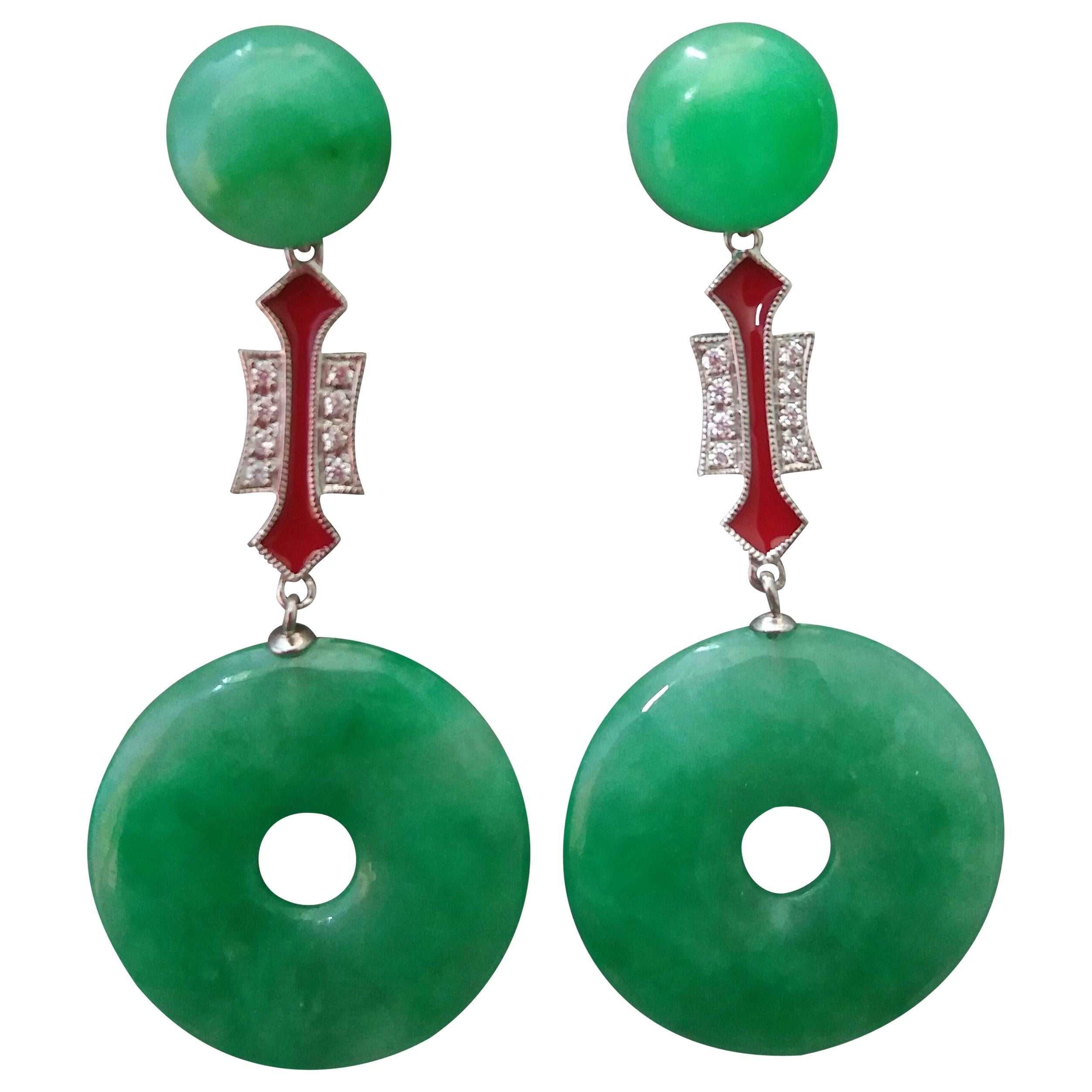 Art Deco Style Jade Donuts Gold Diamonds Red Enamel Dangle Earrings