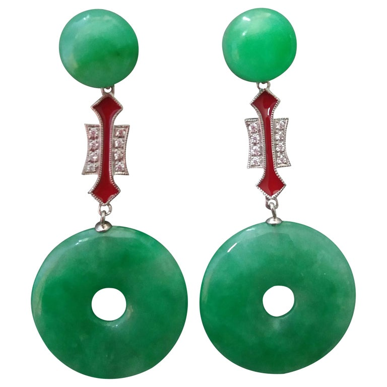 Art Deco Style Jade Donuts Gold Diamonds Red Enamel Dangle Earrings For Sale