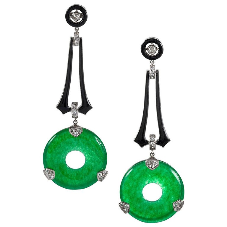 Art Deco Style Jade, Enamel and Diamond Earrings For Sale