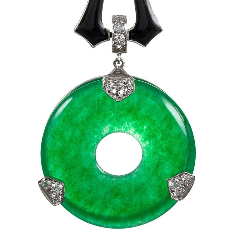 Women's Art Deco Style Jade, Enamel and Diamond Earrings For Sale