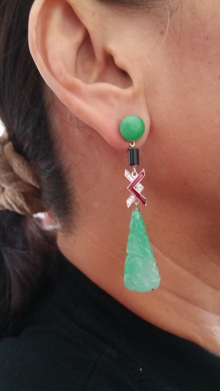 Mixed Cut Art Deco Style Jade Gold Diamonds Black Onyx Red Enamel Dangle Earrings For Sale