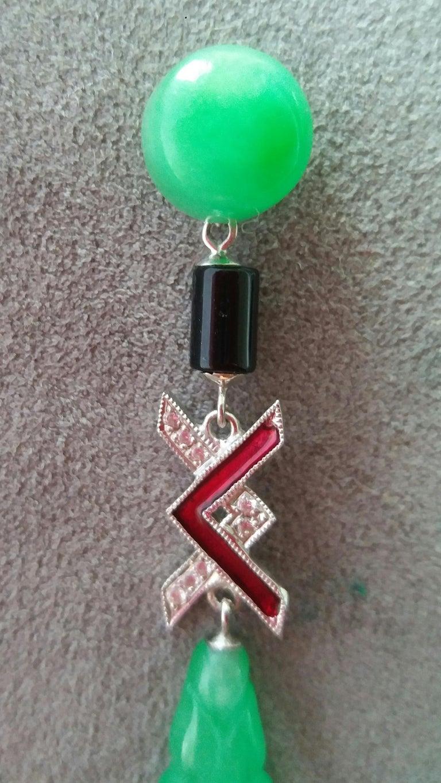 Women's Art Deco Style Jade Gold Diamonds Black Onyx Red Enamel Dangle Earrings For Sale