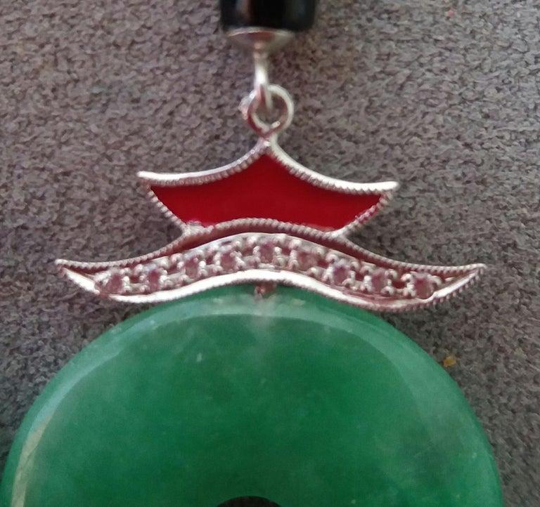 Art Deco Style Jade Gold Diamonds Black Onyx Red Enamel Dangle Earrings For Sale 1
