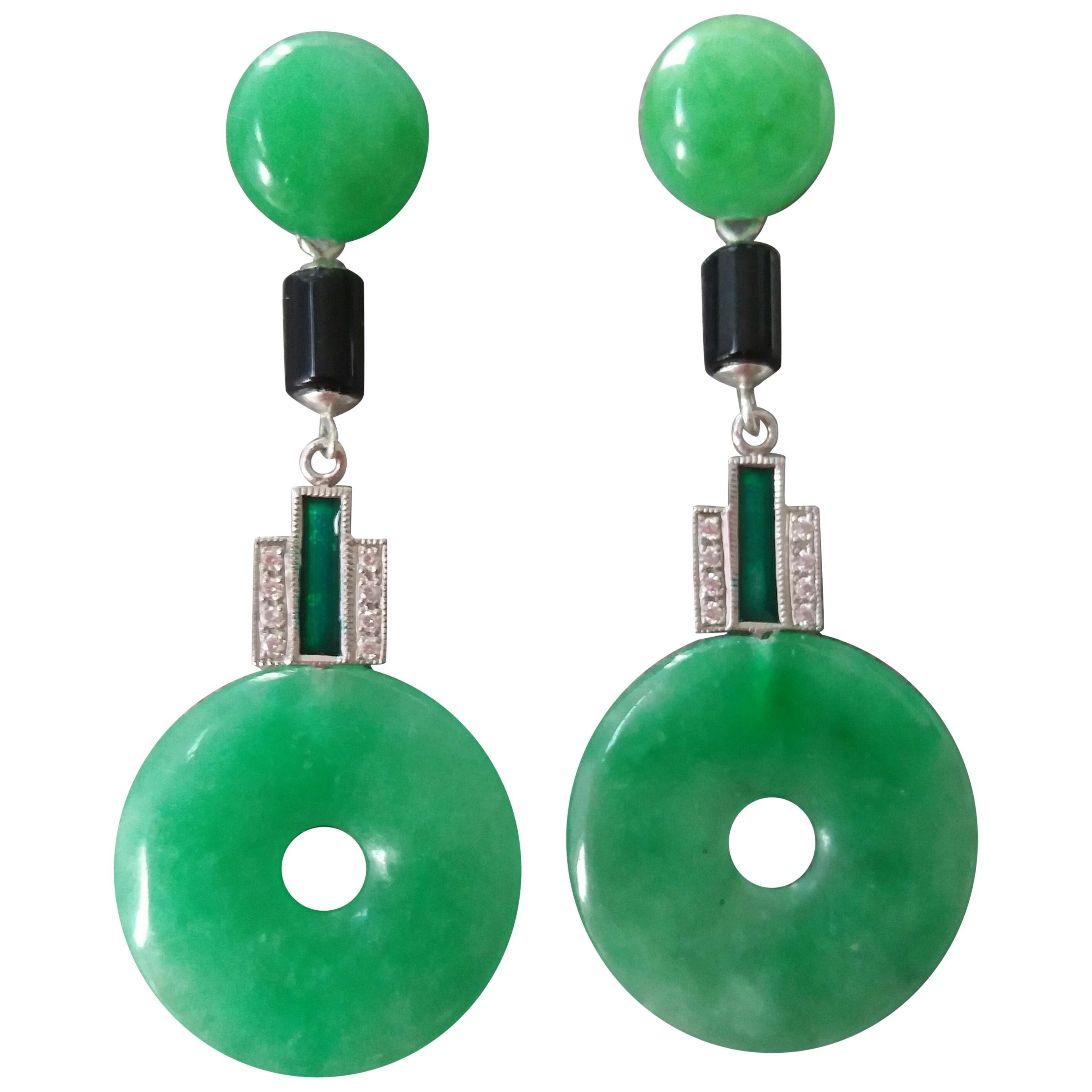 Art Deco Style Jade Gold Diamonds Black Onyx Green Enamel Dangle Earrings
