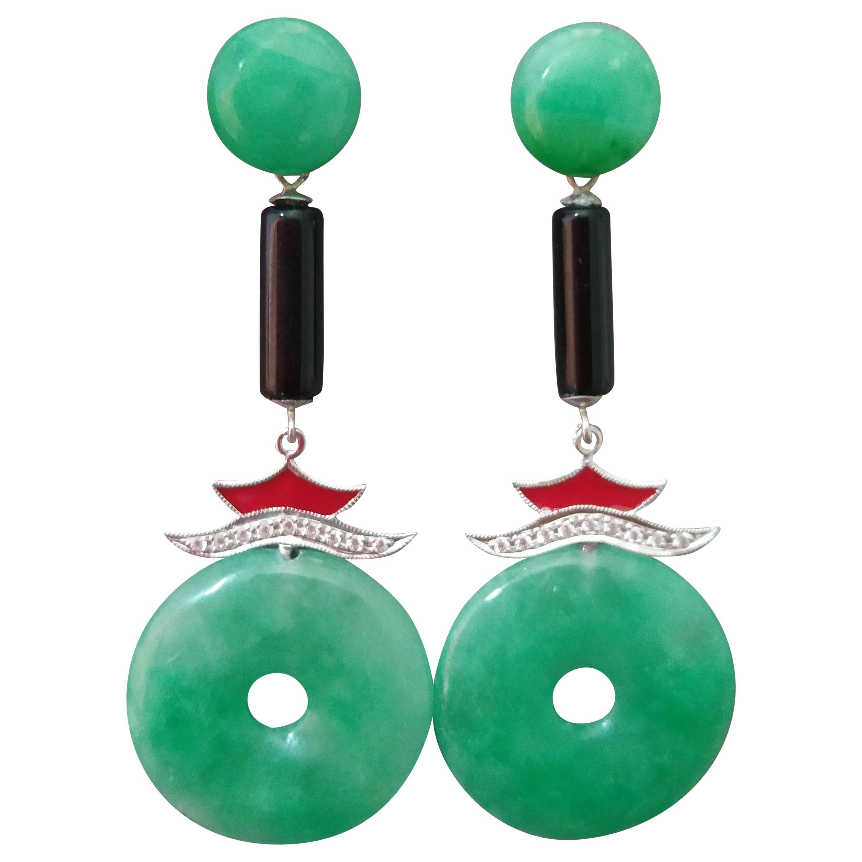 Art Deco Style Jade Gold Diamonds Black Onyx Red Enamel Dangle Earrings
