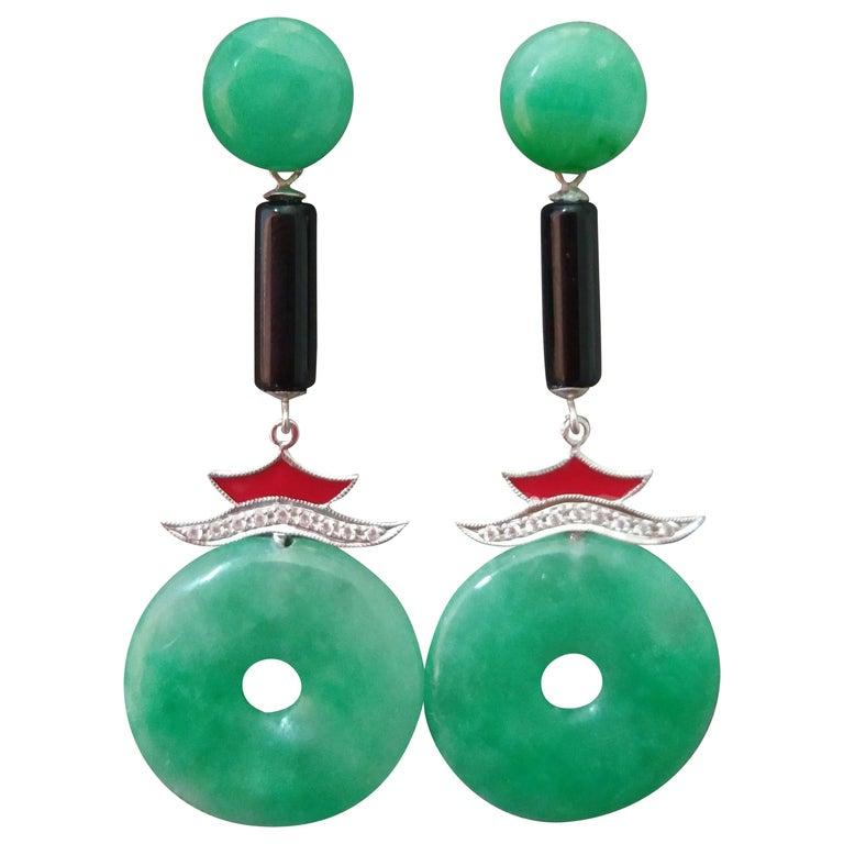 Art Deco Style Jade Gold Diamonds Black Onyx Red Enamel Dangle Earrings For Sale