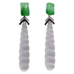 Art Deco Style Jade Gold Diamonds Enamel Carved Rock Crystal Drop Earrings
