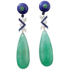 Art Deco Style Jade Lapis Lazuli Emerald Sapphire Gold Diamonds Enamel Earrings