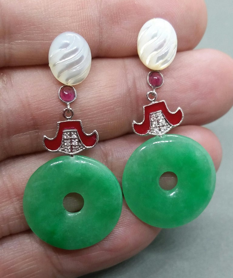 Mixed Cut Art Deco Style Jade Mother of Pearl Gold Diamonds Ruby Red Enamel Earrings For Sale