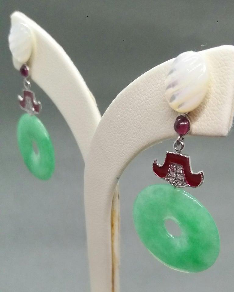 Art Deco Style Jade Mother of Pearl Gold Diamonds Ruby Red Enamel Earrings For Sale 3