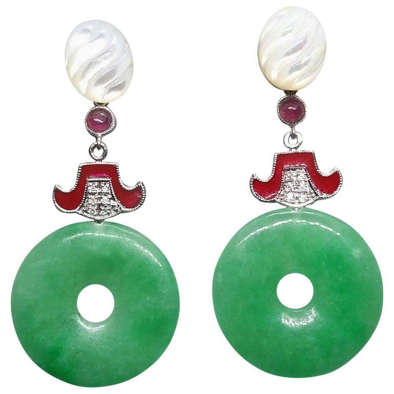 Art Deco Style Jade Mother of Pearl Gold Diamonds Ruby Red Enamel Earrings For Sale