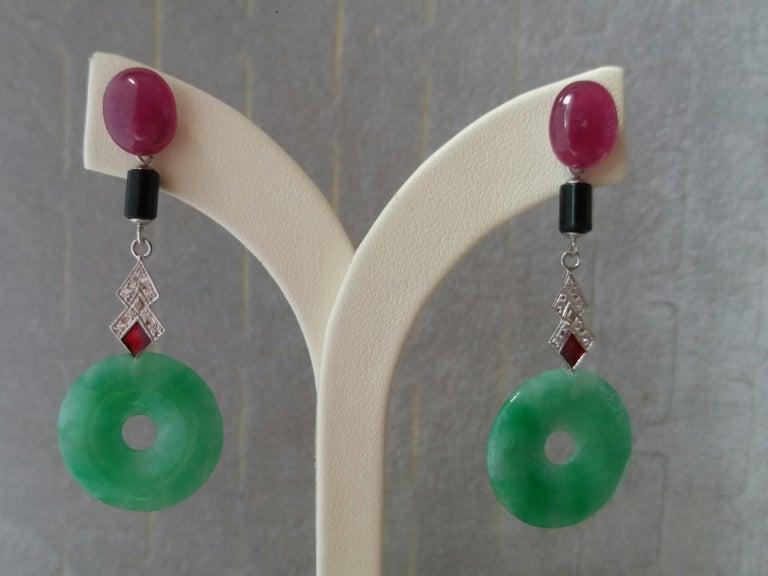 Mixed Cut Art Deco Style Jade Ruby Black Onyx Gold Diamonds Red Enamel Dangle Earrings For Sale