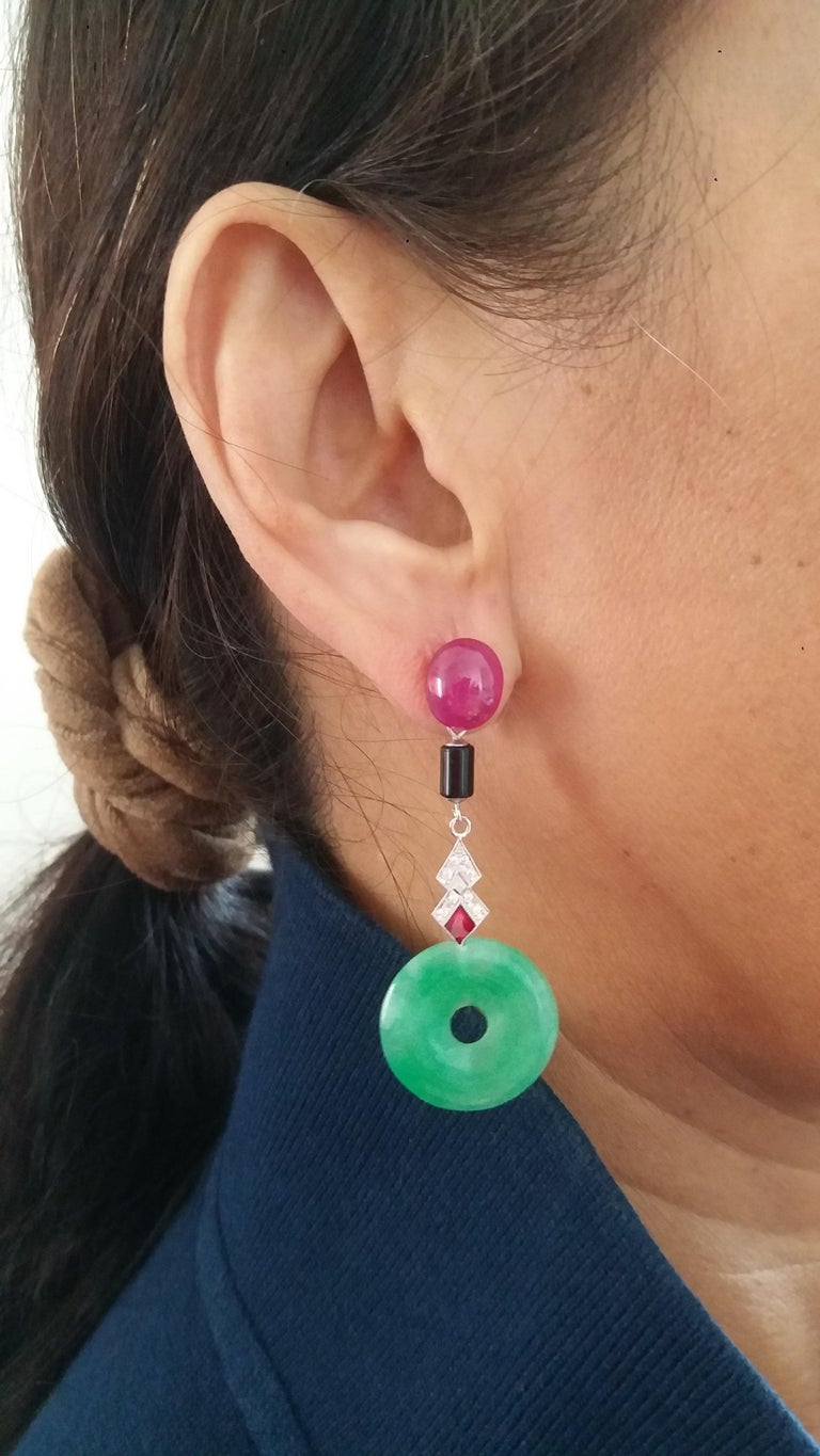 Art Deco Style Jade Ruby Black Onyx Gold Diamonds Red Enamel Dangle Earrings In Good Condition For Sale In Bangkok, TH