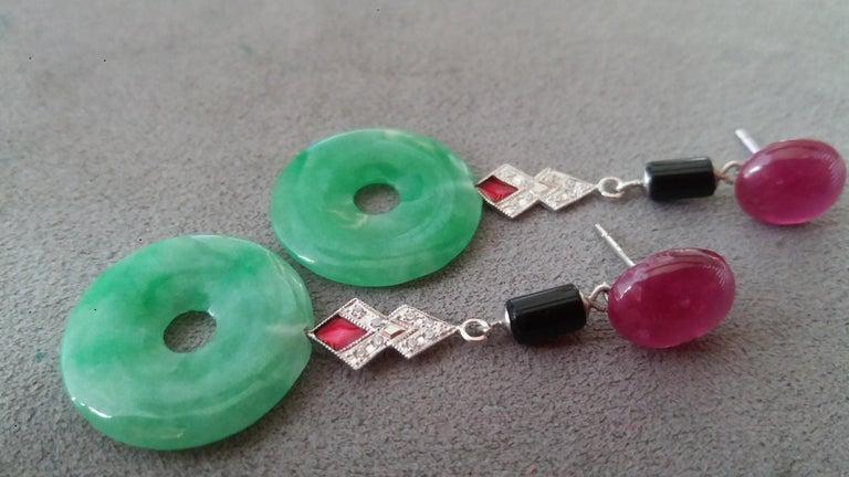 Women's Art Deco Style Jade Ruby Black Onyx Gold Diamonds Red Enamel Dangle Earrings For Sale