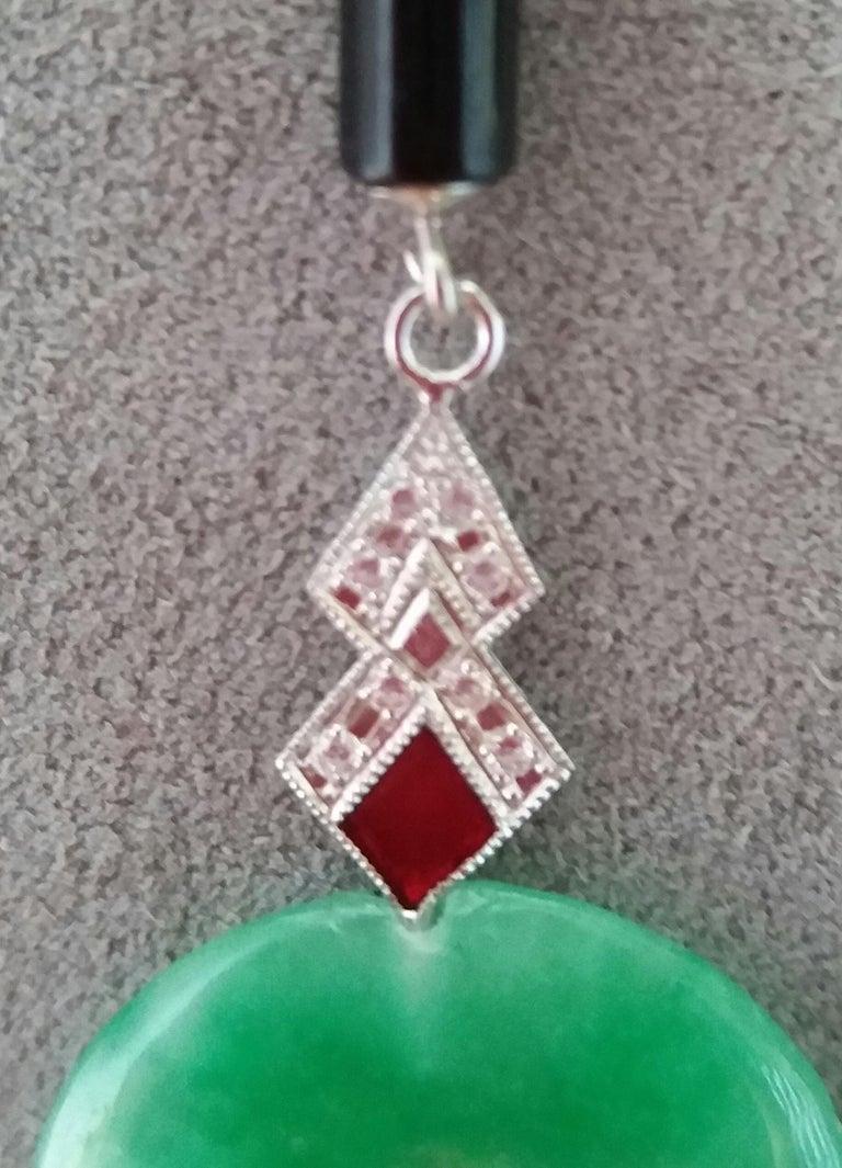 Art Deco Style Jade Ruby Black Onyx Gold Diamonds Red Enamel Dangle Earrings For Sale 1
