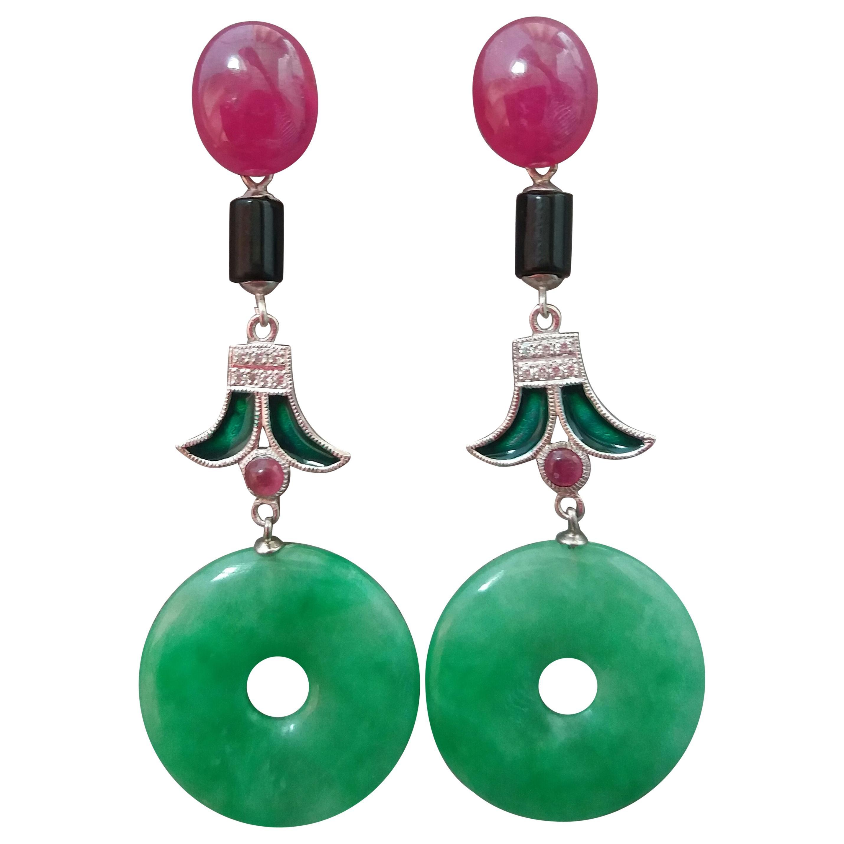 Art Deco Style Jade Ruby Black Onyx Gold Diamonds Green Enamel Dangle Earrings