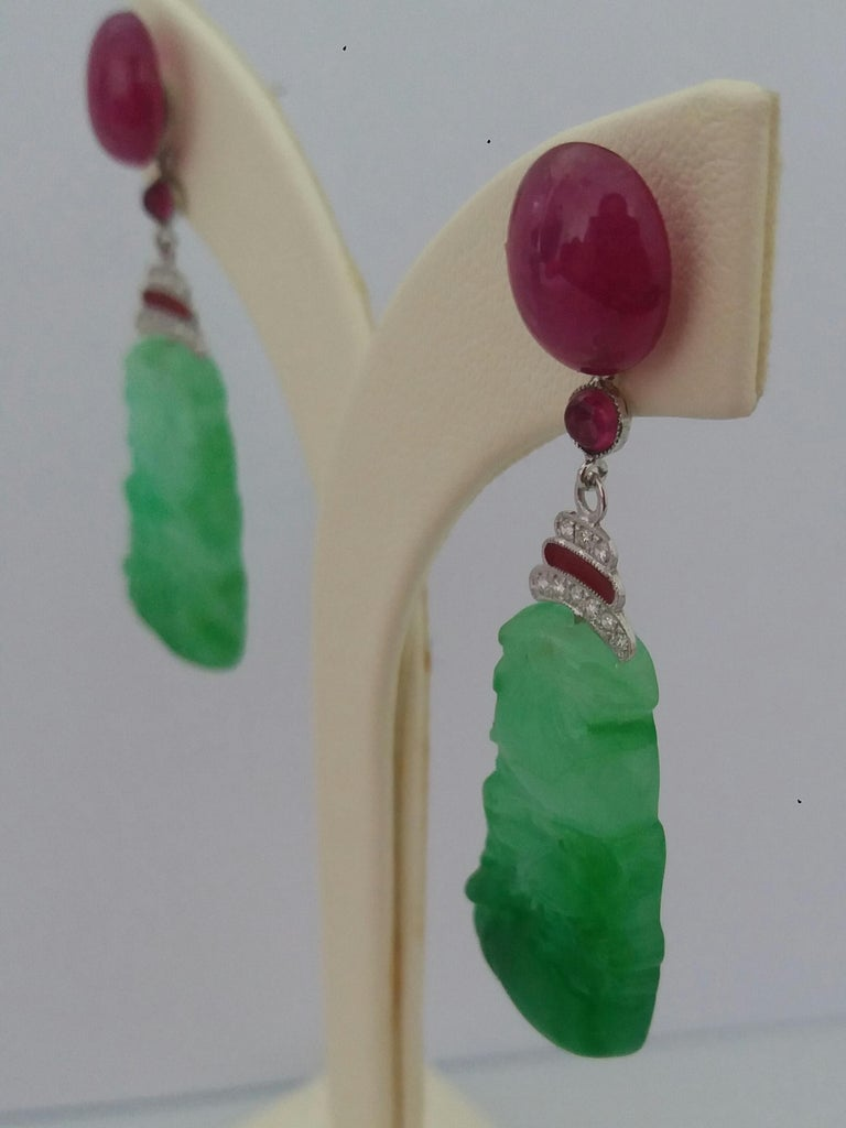 Mixed Cut Art Deco Style Jade Ruby Cabs Gold Diamonds Red Enamel Dangle Earrings For Sale