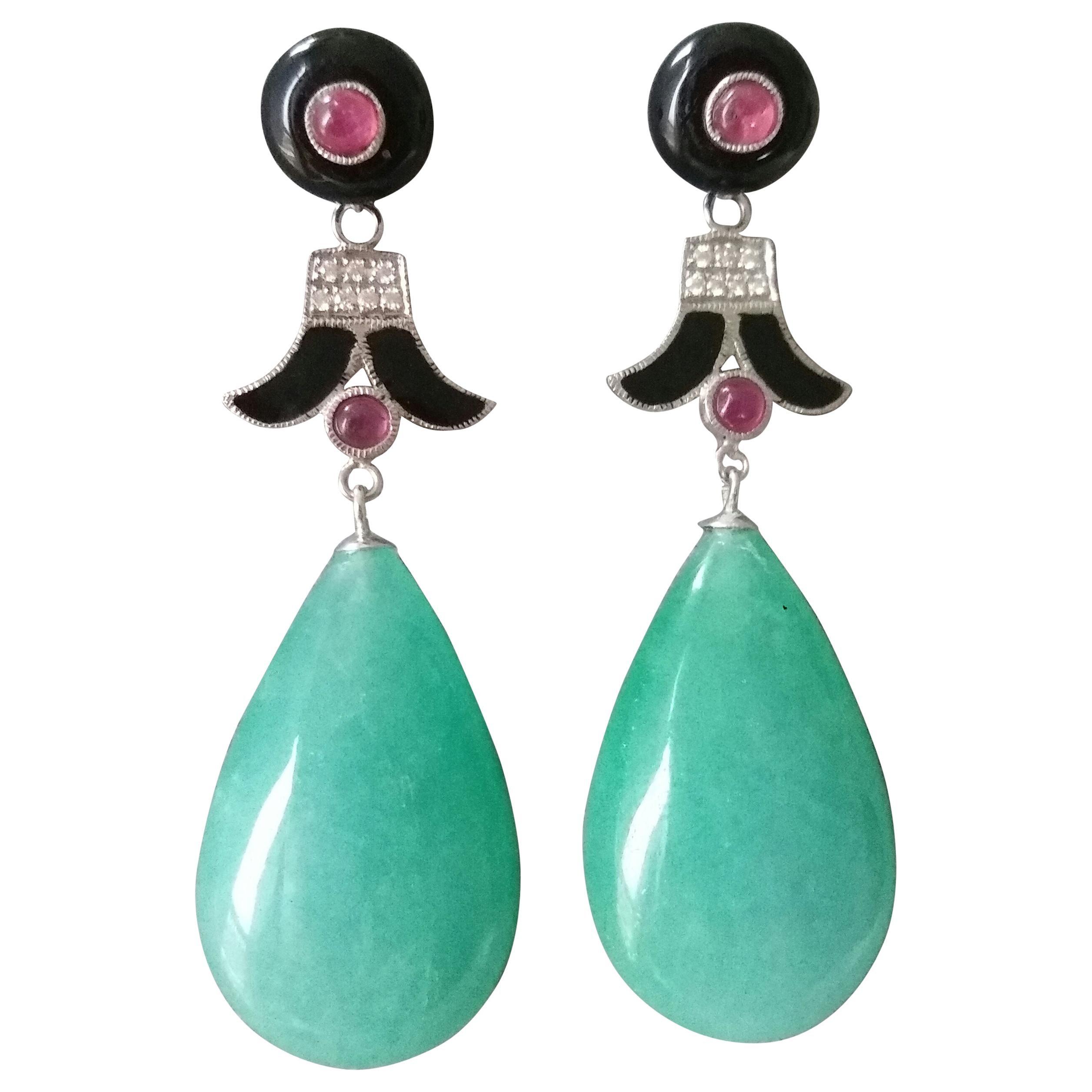 Art Deco Style Jade Ruby Gold Diamonds Black Enamel Black Onix Drop Earrings
