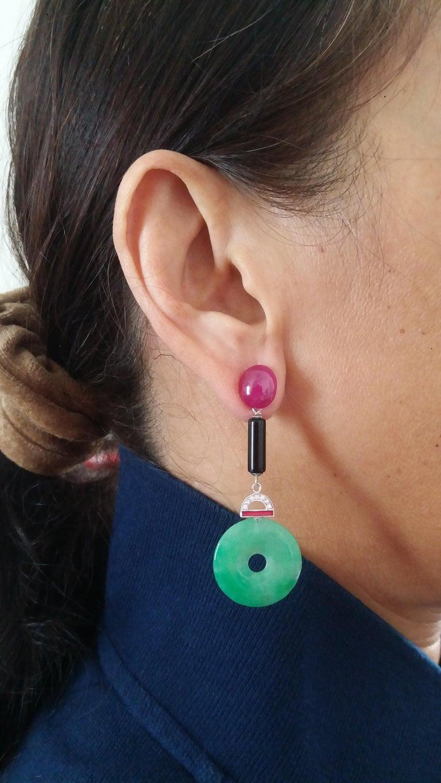 Mixed Cut Art Deco Style Jade Ruby Gold Diamonds Black Onyx Red Enamel Dangle Earrings For Sale