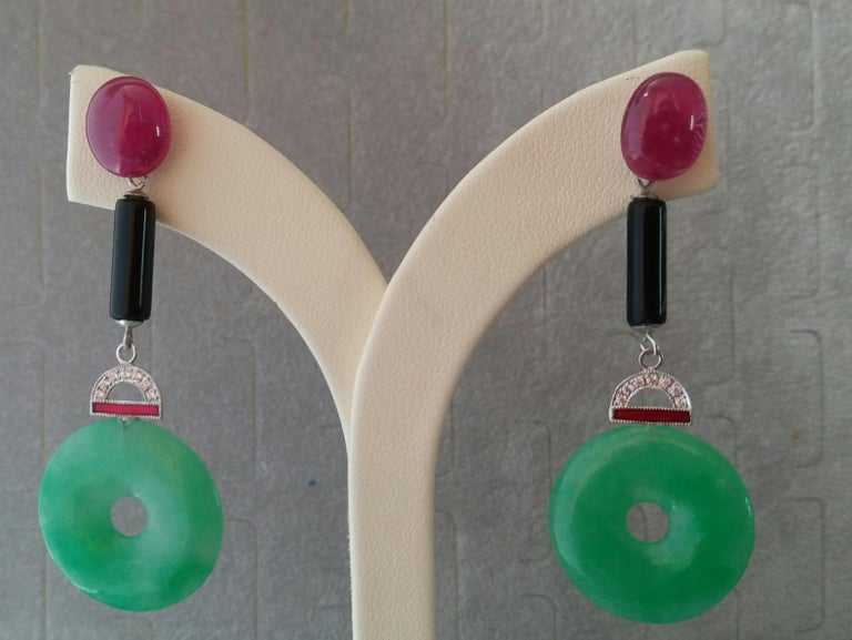 Art Deco Style Jade Ruby Gold Diamonds Black Onyx Red Enamel Dangle Earrings In Good Condition For Sale In Bangkok, TH