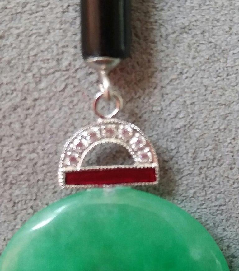 Art Deco Style Jade Ruby Gold Diamonds Black Onyx Red Enamel Dangle Earrings For Sale 1