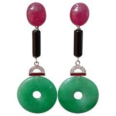 Art Deco Style Jade Ruby Gold Diamonds Black Onyx Red Enamel Dangle Earrings