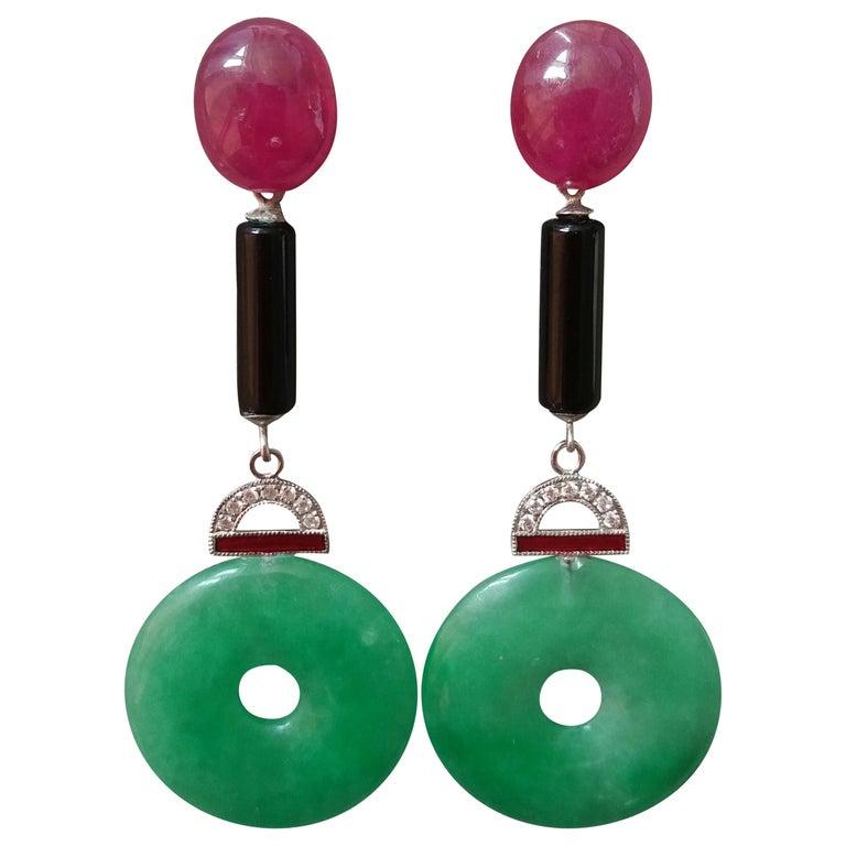 Art Deco Style Jade Ruby Gold Diamonds Black Onyx Red Enamel Dangle Earrings For Sale