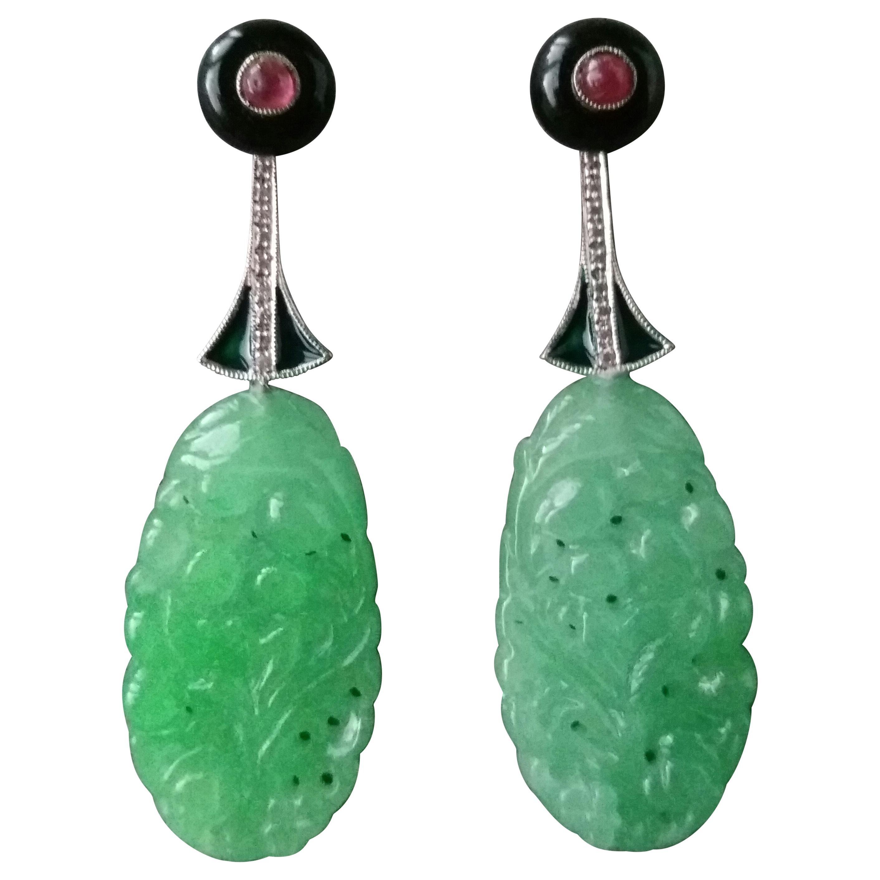 Art Deco Style Jade Ruby Gold Diamonds Green Enamel Dangle Earrings
