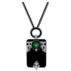 Art Deco Style Jade, Ruby, Onyx, and Diamond 18 Karat White Gold Pendant